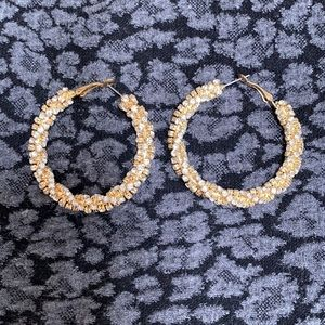 Vintage twisted gold rhinestone chain hoops